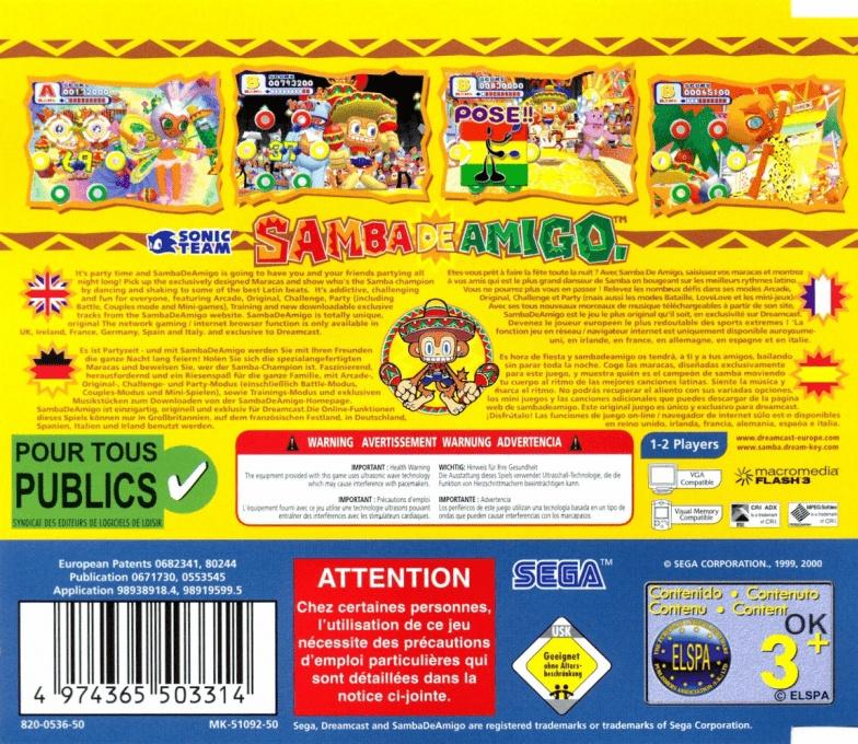 Back boxart of the game Samba De Amigo (Europe) on Sega Dreamcast