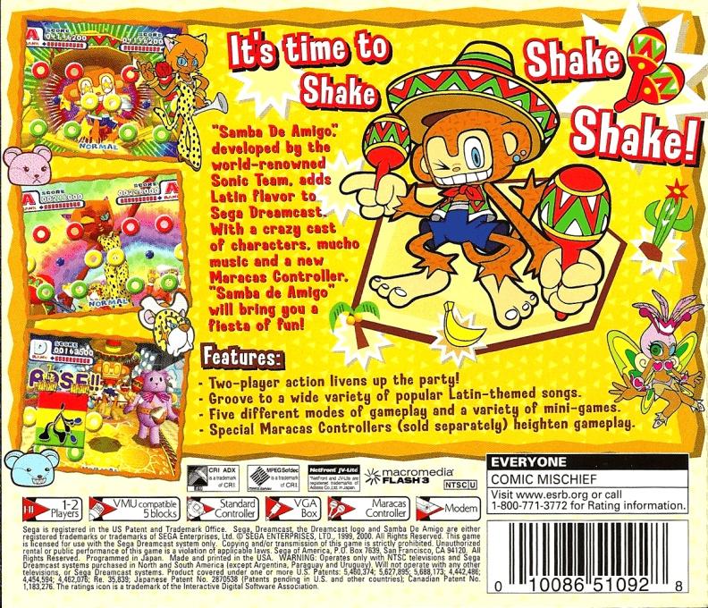 Back boxart of the game Samba De Amigo (United States) on Sega Dreamcast