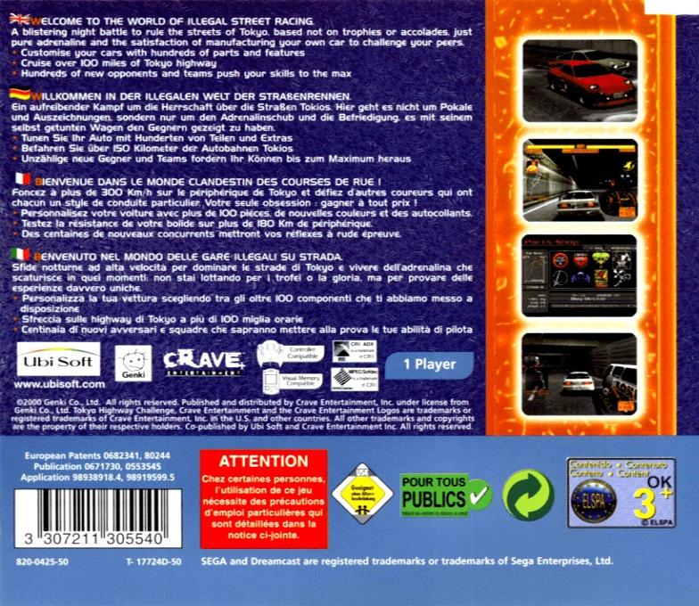 Back boxart of the game Tokyo Highway Challenge 2 (Europe) on Sega Dreamcast