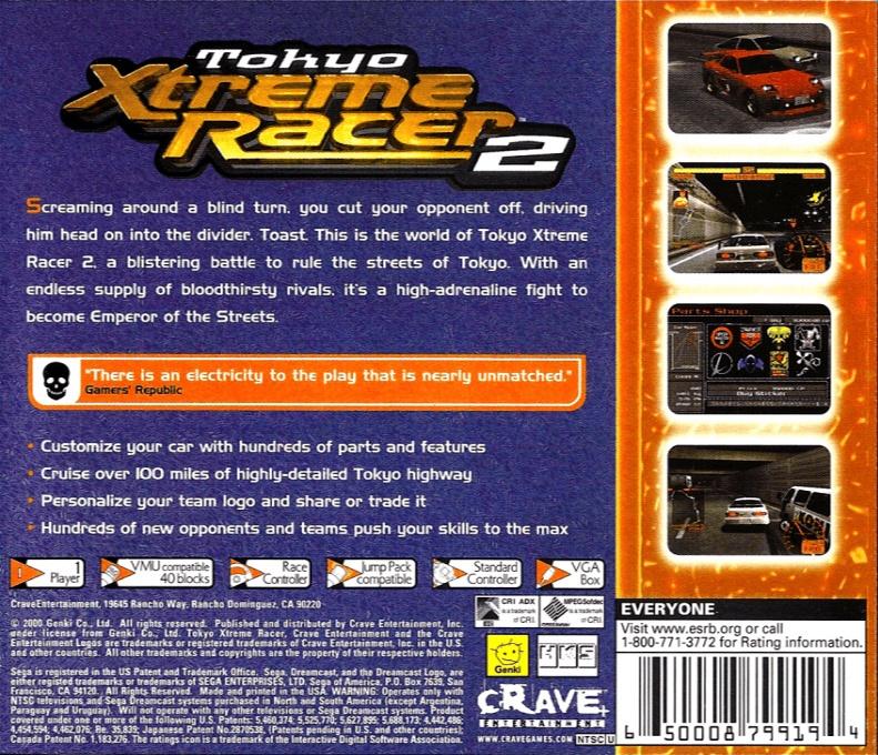 Back boxart of the game Tokyo Highway Challenge 2 (United States) on Sega Dreamcast