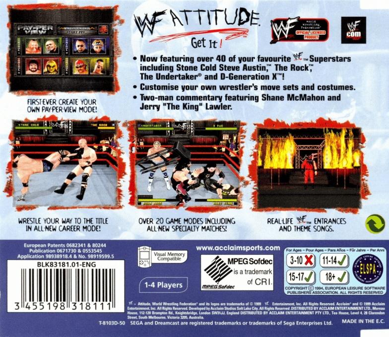 Back boxart of the game WWF Attitude (Europe) on Sega Dreamcast
