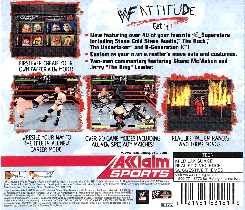 Back boxart of the game WWF Attitude (United States) on Sega Dreamcast