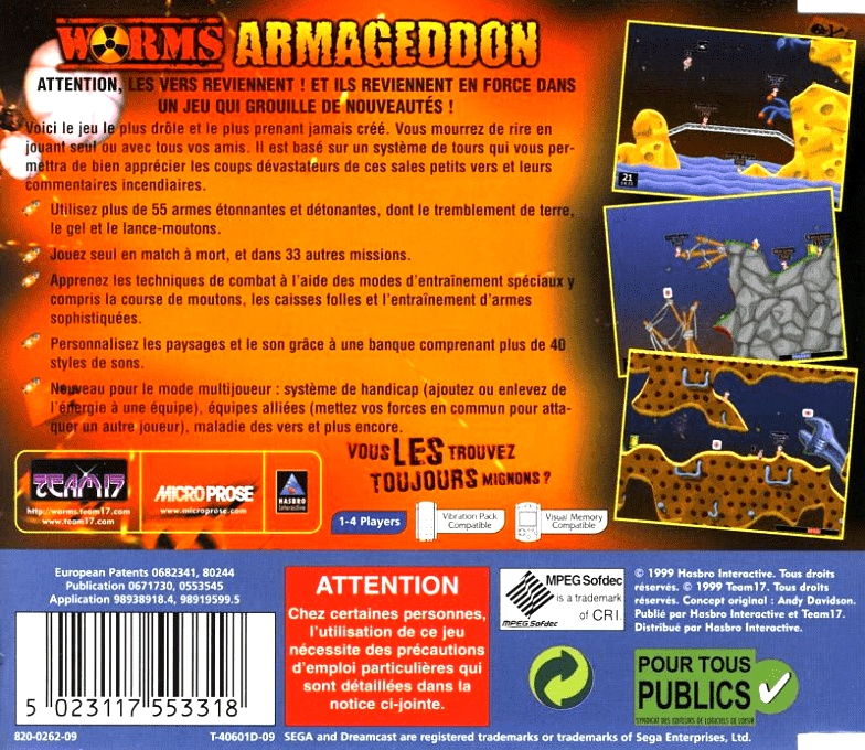 Back boxart of the game Worms Armageddon (France) on Sega Dreamcast