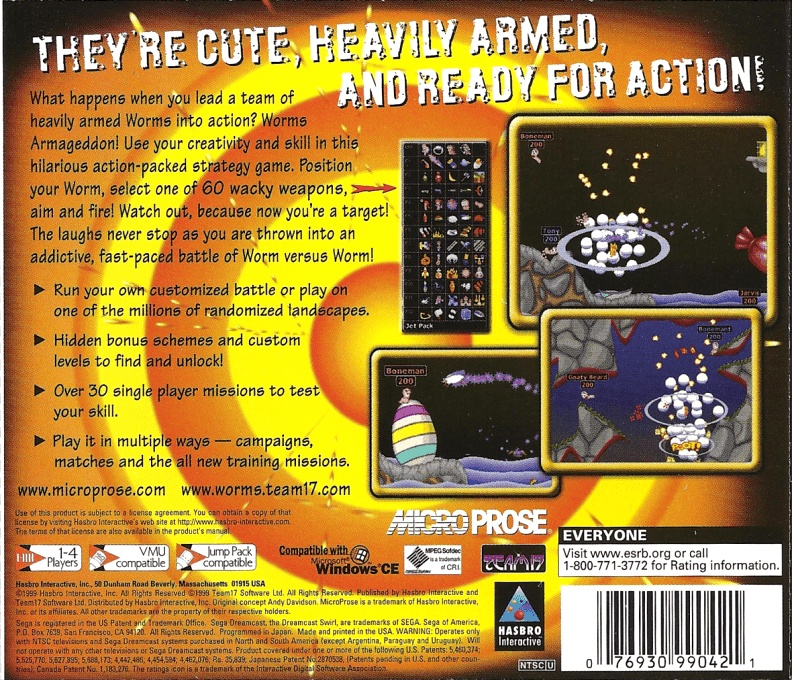 Back boxart of the game Worms Armageddon (United States) on Sega Dreamcast