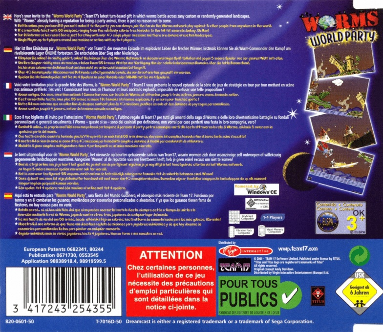 Back boxart of the game Worms World Party (Europe) on Sega Dreamcast