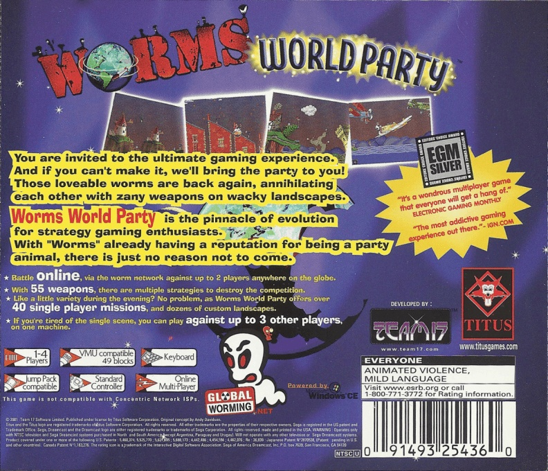 Back boxart of the game Worms World Party (United States) on Sega Dreamcast