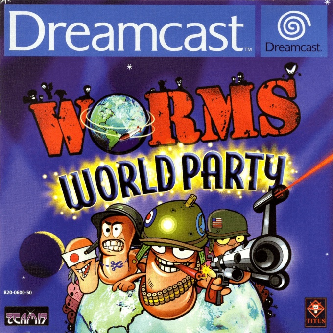 Front boxart of the game Worms World Party (Europe) on Sega Dreamcast