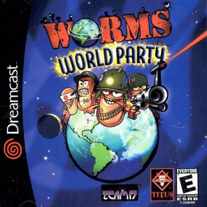 Front boxart of the game Worms World Party (United States) on Sega Dreamcast