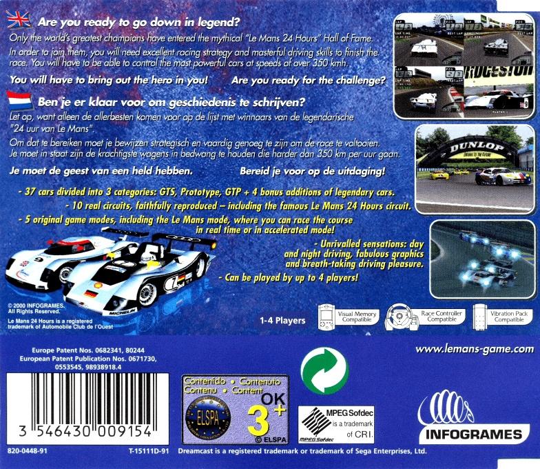 Back boxart of the game Le Mans 24 Hours (Europe) on Sega Dreamcast