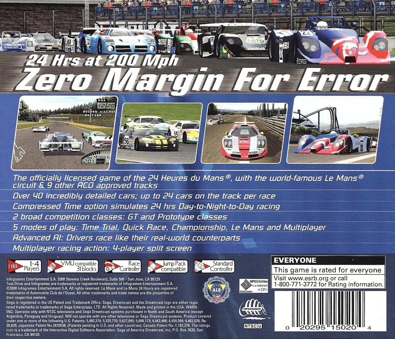 Back boxart of the game Le Mans 24 Hours (United States) on Sega Dreamcast