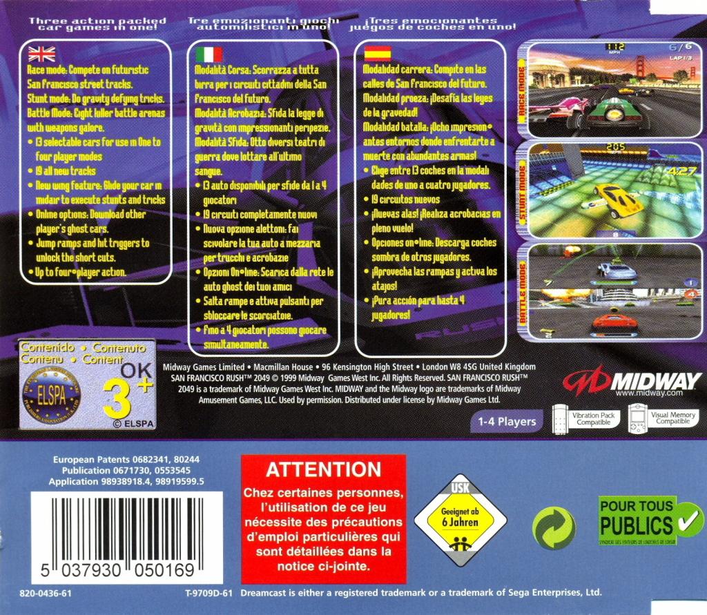 Back boxart of the game San Francisco Rush 2049 (Europe) on Sega Dreamcast