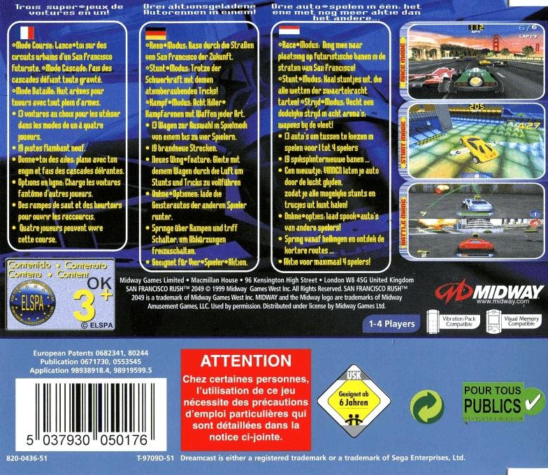 Back boxart of the game San Francisco Rush 2049 (France) on Sega Dreamcast