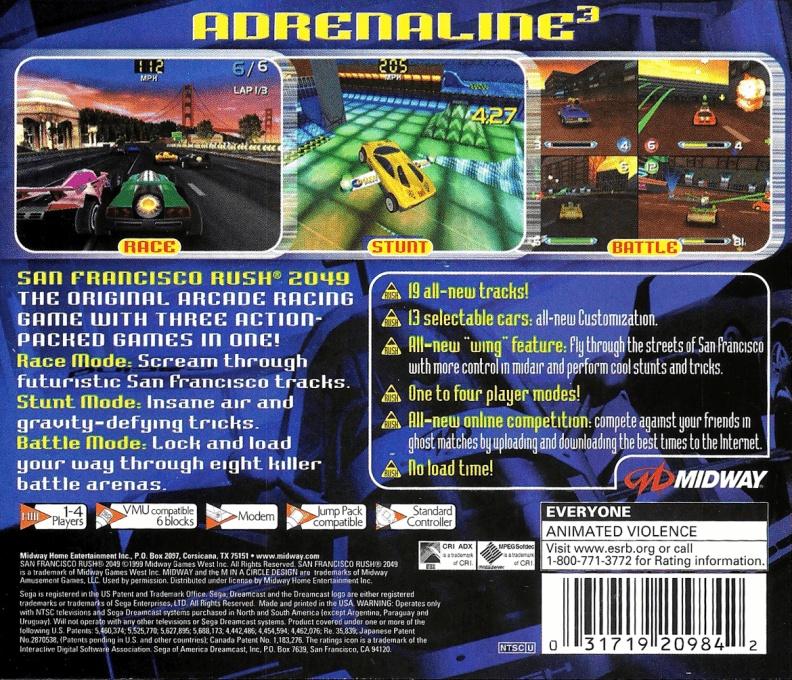 Back boxart of the game San Francisco Rush 2049 (United States) on Sega Dreamcast