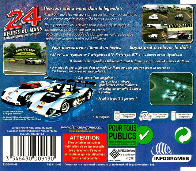 Back boxart of the game 24 Heures du Mans (France) on Sega Dreamcast