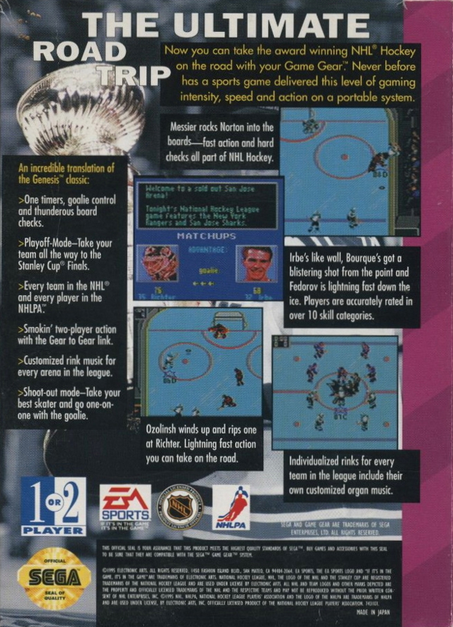 NHL Hockey boxarts for Sega Game Gear - The Video Games Museum