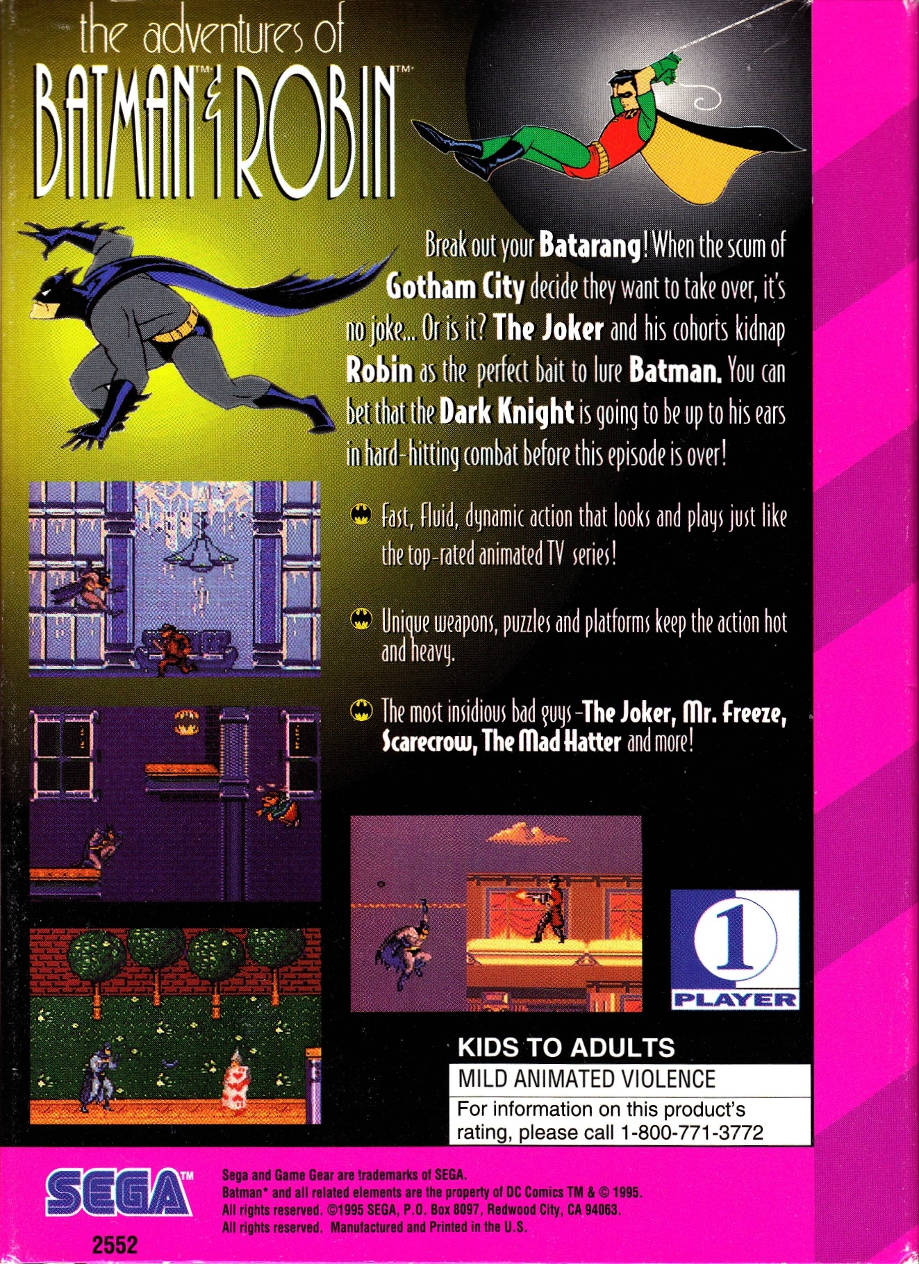 Back boxart of the game Adventures of Batman & Robin, The (United States) on Sega Game Gear