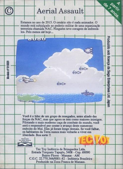 Back boxart of the game Aerial Assault (Brazil) on Sega Game Gear