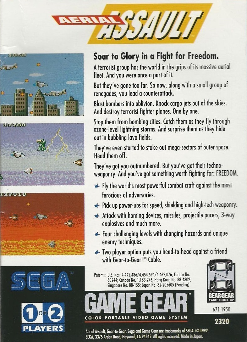 Back boxart of the game Aerial Assault (United States) on Sega Game Gear