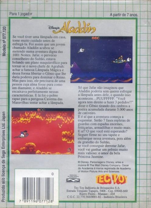 Back boxart of the game Aladdin (Brazil) on Sega Game Gear