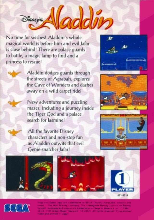 Back boxart of the game Aladdin (United States) on Sega Game Gear