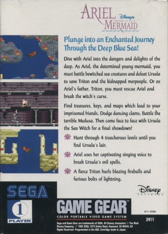 Back boxart of the game Ariel - The Little Mermaid (United States) on Sega Game Gear