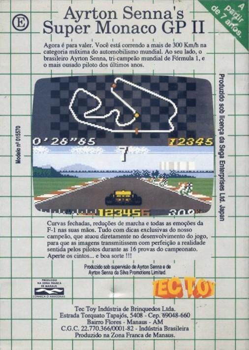 Back boxart of the game Ayrton Senna's Super Monaco GP II (Brazil) on Sega Game Gear