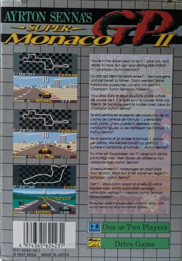 Back boxart of the game Ayrton Senna's Super Monaco GP II (Europe) on Sega Game Gear