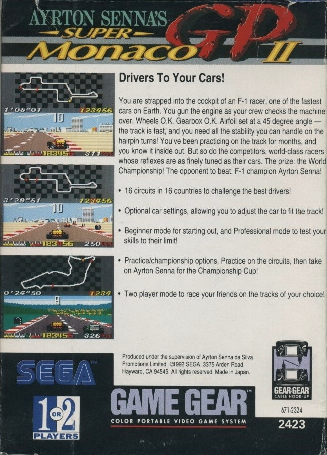 Back boxart of the game Ayrton Senna's Super Monaco GP II (United States) on Sega Game Gear