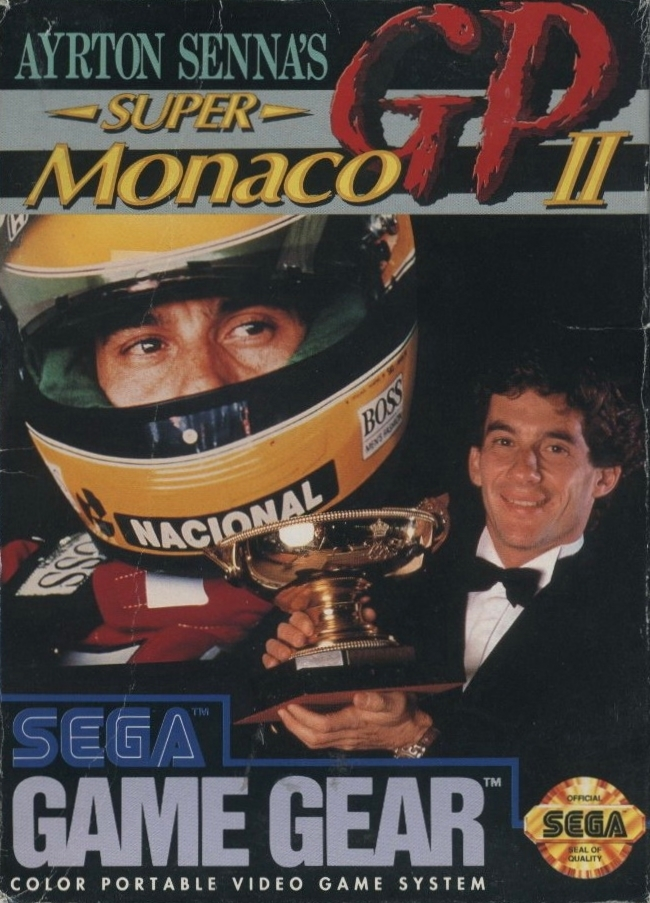 Front boxart of the game Ayrton Senna's Super Monaco GP II (United States) on Sega Game Gear