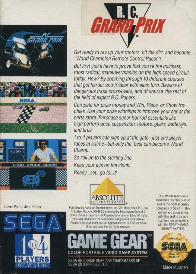 Back boxart of the game R.C. Grand Prix (United States) on Sega Game Gear
