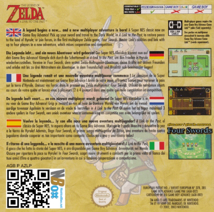 Back boxart of the game Legend of Zelda, The - A Link to the Past & Four Swords (Europe) on Nintendo GameBoy Advance