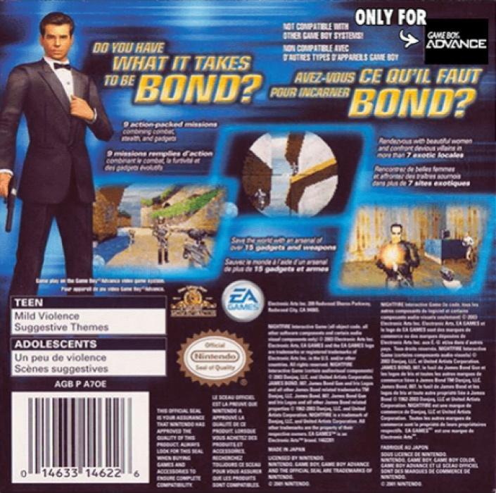 Back boxart of the game 007 - NightFire (United States) on Nintendo GameBoy Advance