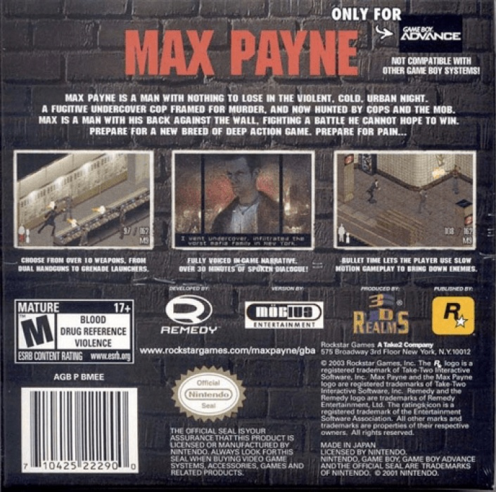 Max Payne Advance Boxarts For Nintendo Gameboy Advance The Video Games Museum