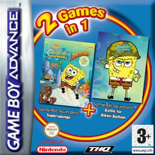 Front boxart of the game 2 Games in 1 - SpongeBob SquarePants - SuperSponge & Battle for Bikini Bottom (Europe) on Nintendo GameBoy Advance
