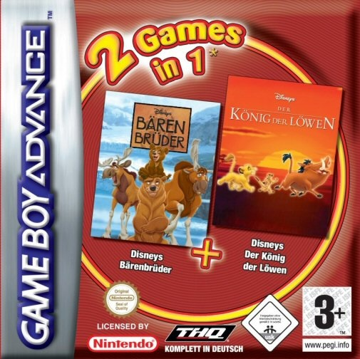 Front boxart of the game 2 Games in 1 - Brother Bear + The Lion King on Nintendo GameBoy Advance