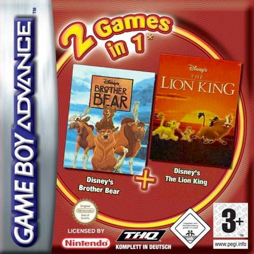 Front boxart of the game 2 Games in 1 - Brother Bear + The Lion King (Europe) on Nintendo GameBoy Advance