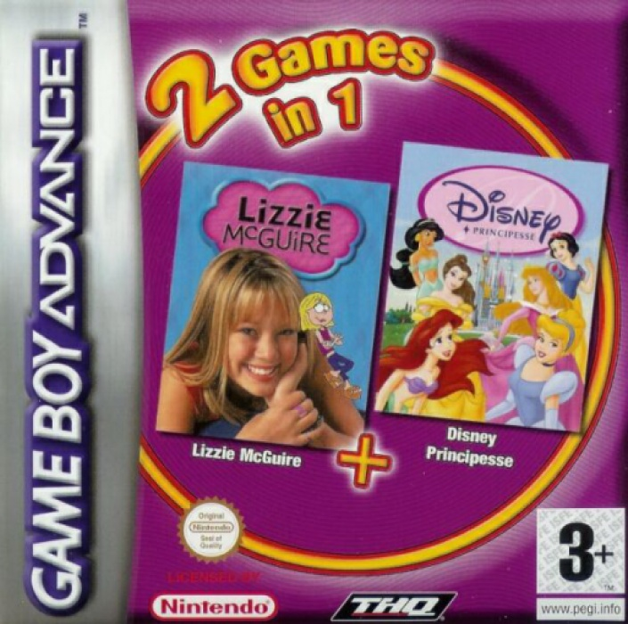 Front boxart of the game 2 Games in 1 - Disney Princess + Lizzie McGuire (Europe) on Nintendo GameBoy Advance