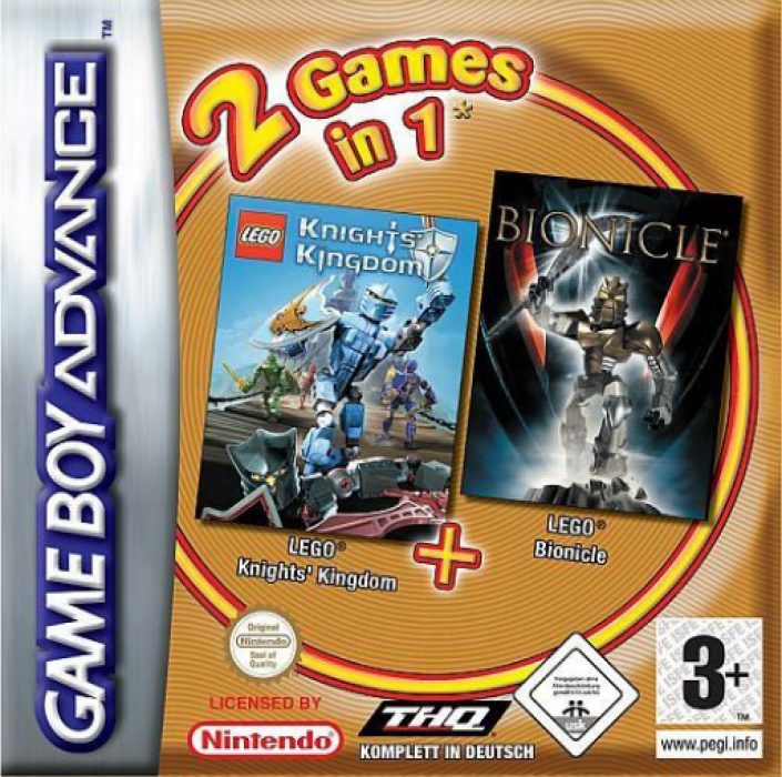 Front boxart of the game 2 Games in 1 - Bionicle + Knights' Kingdom (Europe) on Nintendo GameBoy Advance