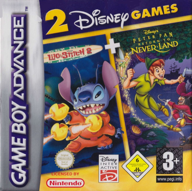 Front boxart of the game 2 Disney Games - Lilo & Stitch 2 + Peter Pan - Return to Neverland on Nintendo GameBoy Advance