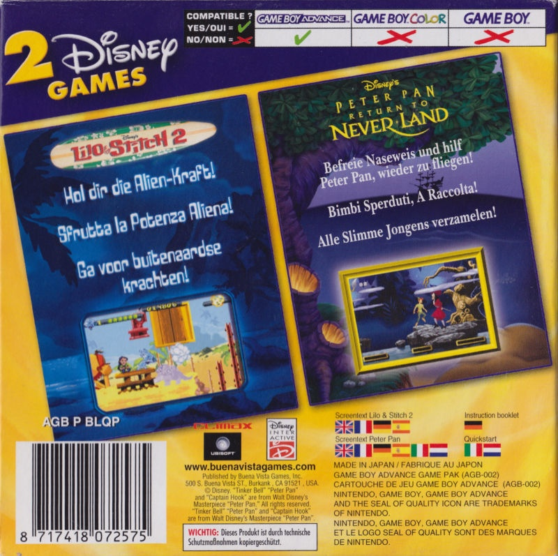 Back boxart of the game 2 Disney Games - Lilo & Stitch 2 + Peter Pan - Return to Neverland on Nintendo GameBoy Advance