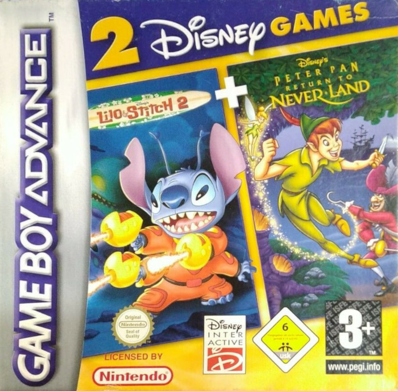 Front boxart of the game 2 Disney Games - Lilo & Stitch 2 + Peter Pan - Return to Neverland (Europe) on Nintendo GameBoy Advance