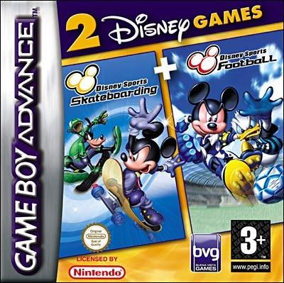Front boxart of the game 2 Disney Games - Disney Sports - Football + Disney Sports - Skateboarding on Nintendo GameBoy Advance