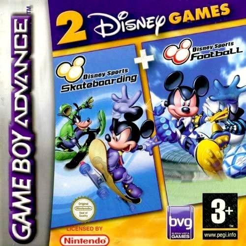 Front boxart of the game 2 Disney Games - Disney Sports - Football + Disney Sports - Skateboarding (Europe) on Nintendo GameBoy Advance