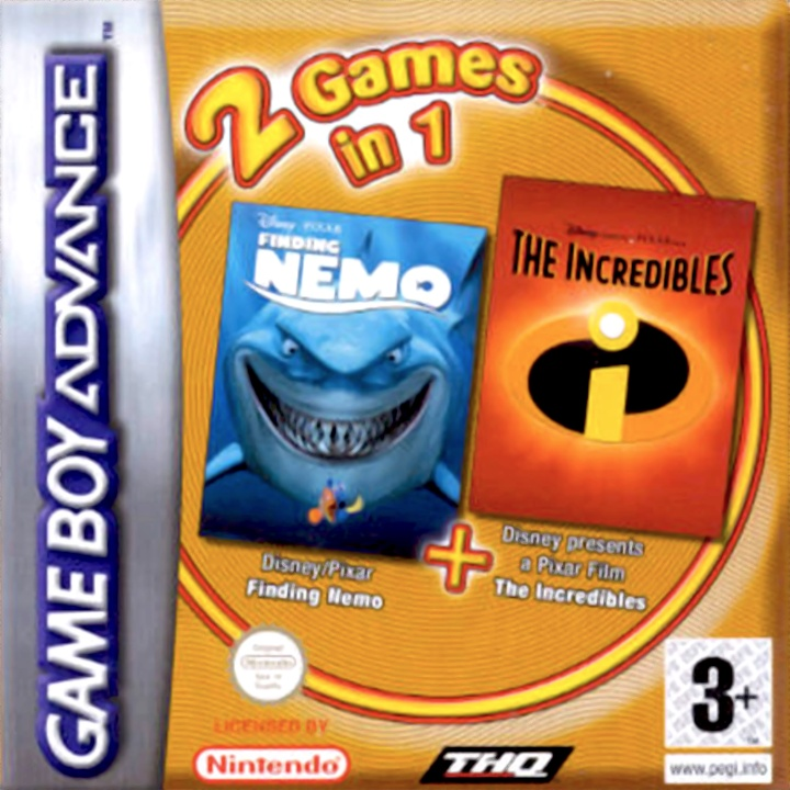 Front boxart of the game 2 Games in 1 - Finding Nemo + The Incredibles (Europe) on Nintendo GameBoy Advance