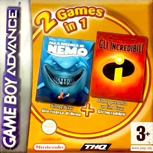 Front boxart of the game 2 Games in 1 - Finding Nemo + The Incredibles (Italy) on Nintendo GameBoy Advance