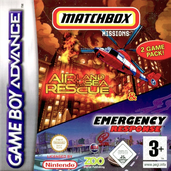 Front boxart of the game 2 Game Pack! - Matchbox Missions - Emergency Response & Air, Land and Sea Rescue (Europe) on Nintendo GameBoy Advance