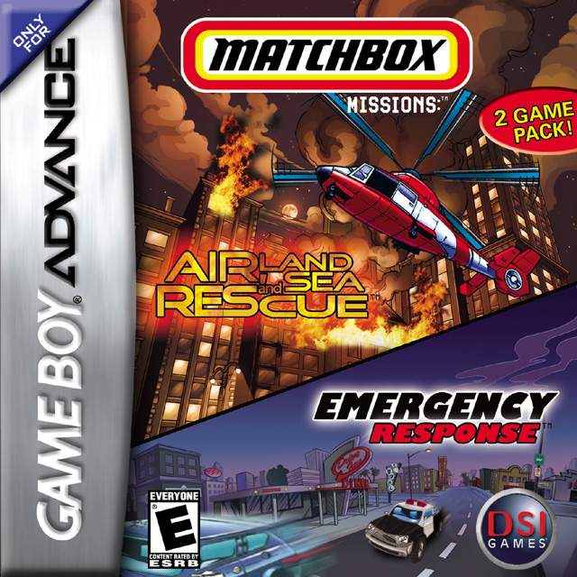 Front boxart of the game 2 Game Pack! - Matchbox Missions - Emergency Response & Air, Land and Sea Rescue (United States) on Nintendo GameBoy Advance