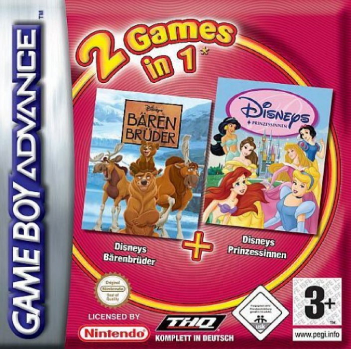 Front boxart of the game 2 Games in 1 - Disney Princess + Brother Bear (Europe) on Nintendo GameBoy Advance