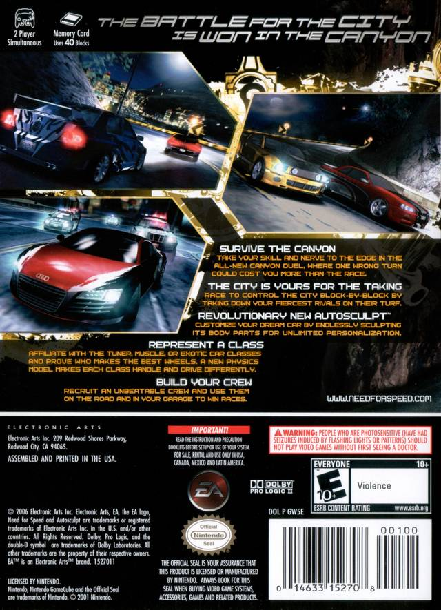 Need for Speed - Carbon boxarts for Nintendo GameCube - The