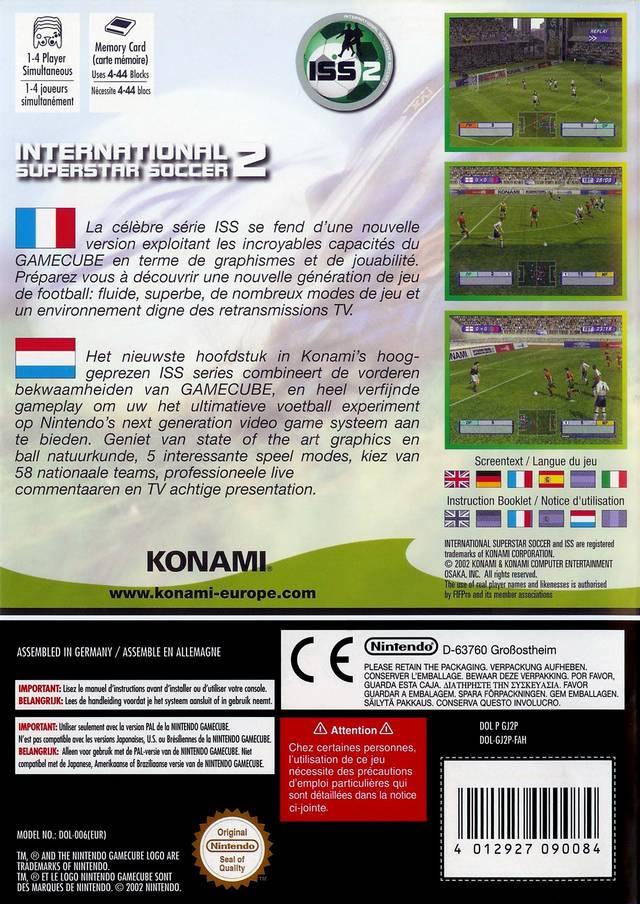 Back boxart of the game International Superstar Soccer 2 (Europe) on Nintendo GameCube